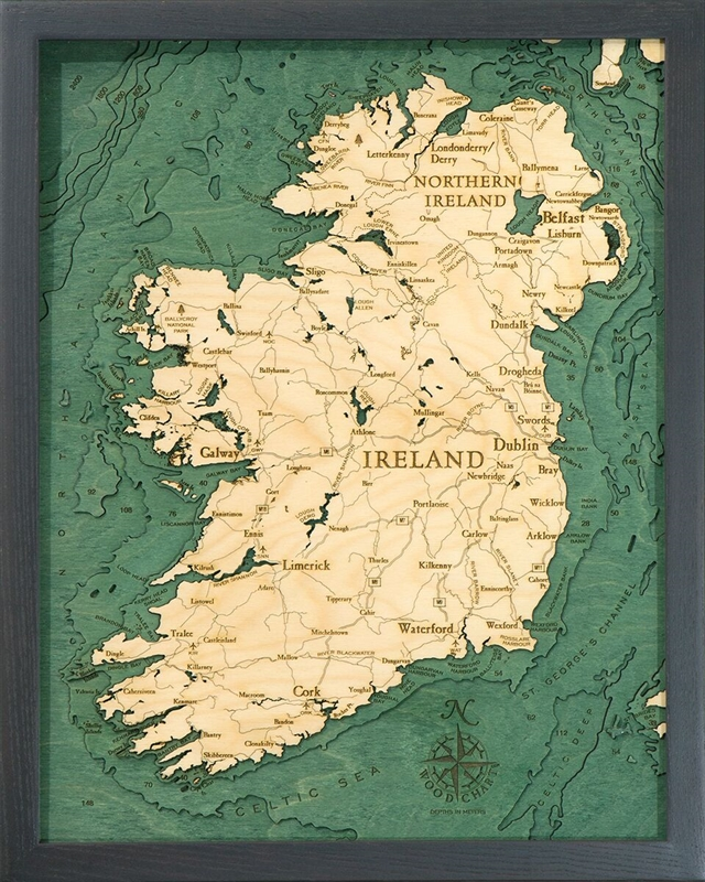 Ireland Nautical Topographic Art: Bathymetric Real Wood Decorative Chart