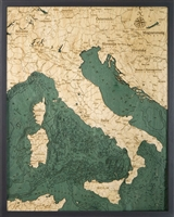 Italy 3D  Nautical Real Wood Map Depth Decorative Chart