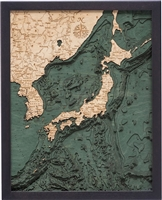 Japan Nautical Topographic Art: Bathymetric Real Wood Decorative Chart