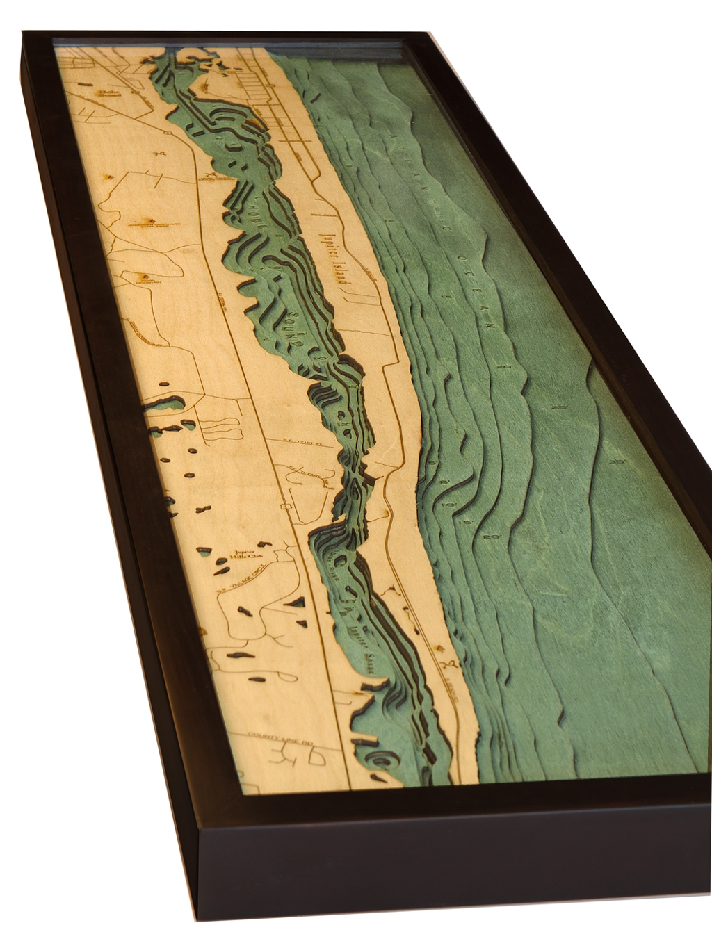 Map Jupiter Florida.Custom Wood Charts Of Jupiter Florida From Carved Lake Art Nautical