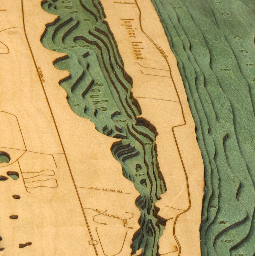 Custom Wood Charts Of Jupiter Florida From Carved Lake Art - Florida map jupiter