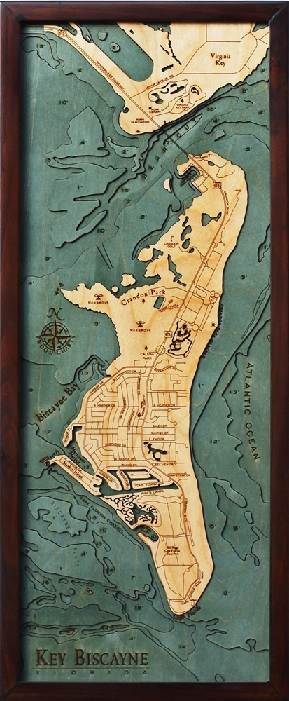 3D Key Biscayne Nautical Real Wood Map Depth Decorative Chart