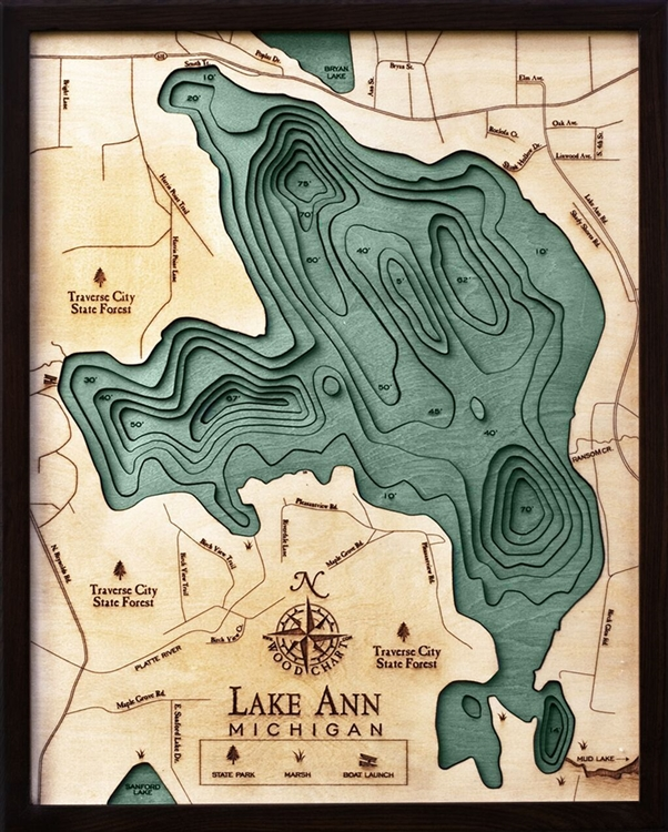 3D Lake Ann Nautical Real Wood Map Depth Decorative Chart