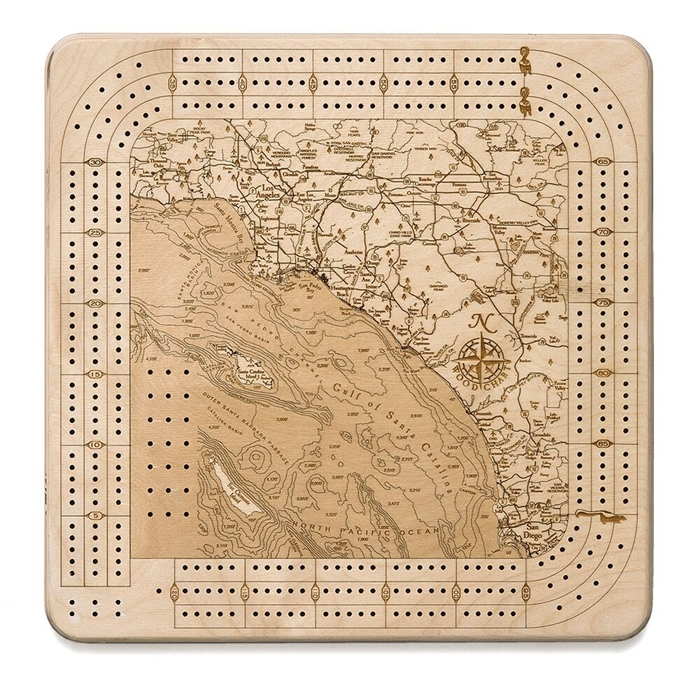 Los Angeles To San Diego Real Wood Decorative Cribbage Board