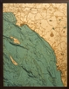 Los Angeles to San Diego 3D  Nautical Real Wood Map Depth Decorative Chart