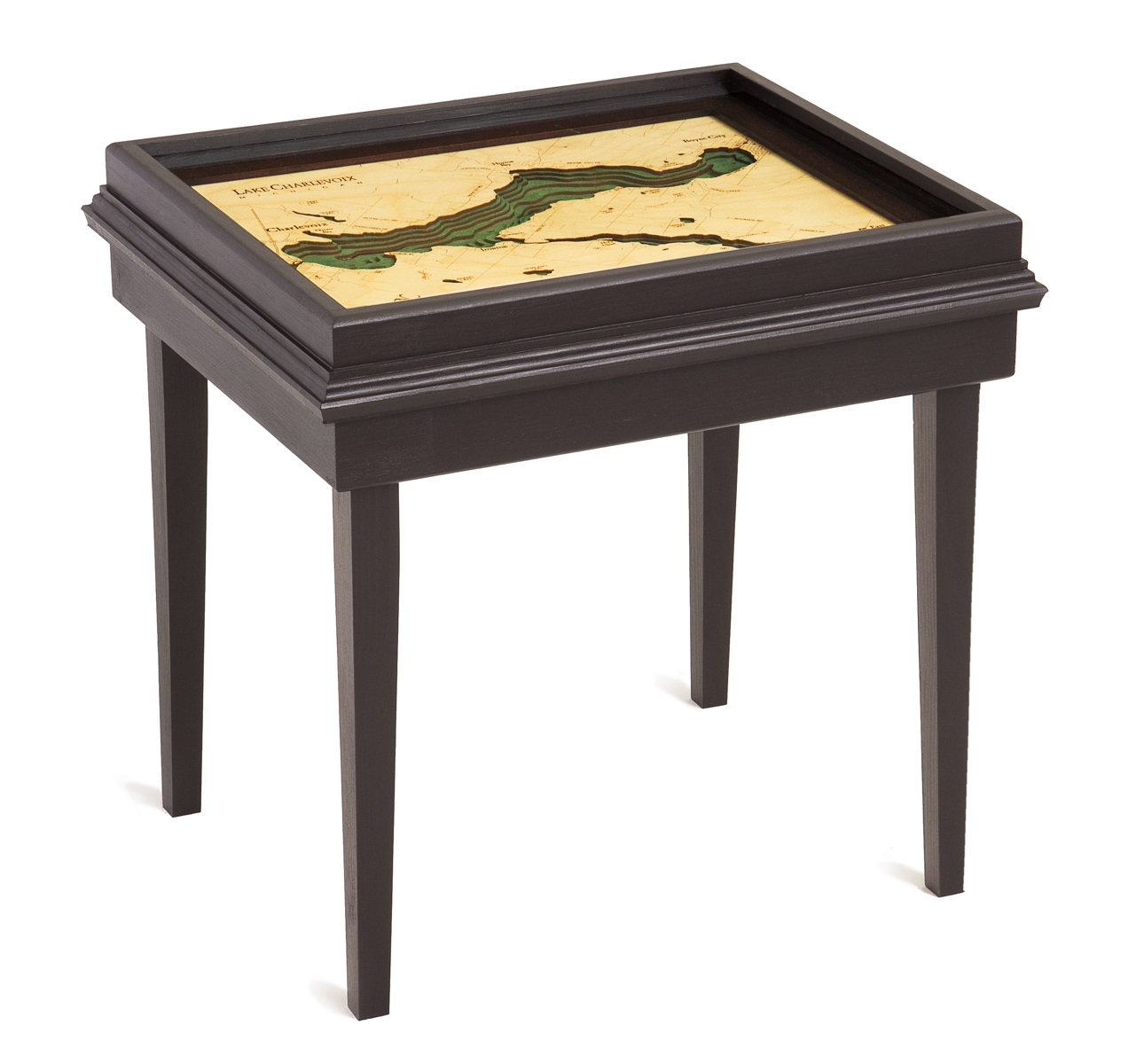 Remarkable Lake Charlevoix 3D Wood Nautical Chart End Table 22 X 18 Home Remodeling Inspirations Propsscottssportslandcom