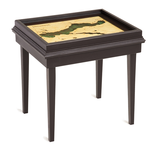 Lake Charlevoix 3D Nautical Woodchart End Table