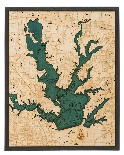 3D Lewisville Lake Nautical Real Wood Map Depth Decorative Chart
