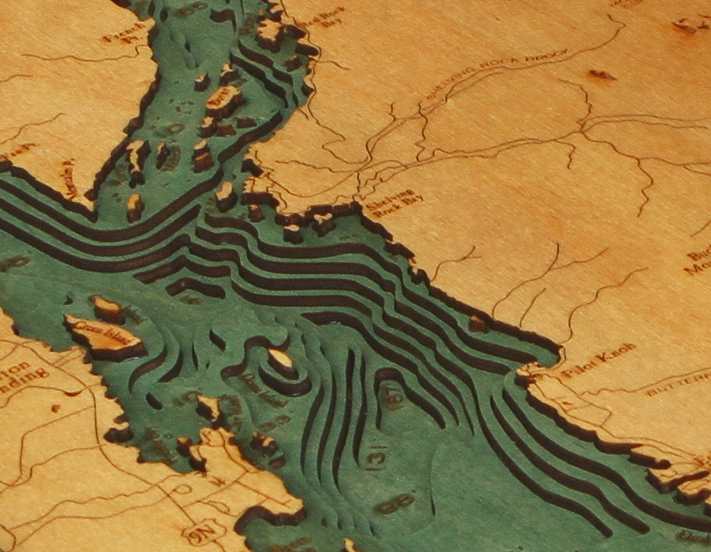 3D Laser Cut Lake George Nautical Map | Carved Lake Art