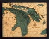 Lake Huron Nautical Topographic Art: Bathymetric Real Wood Decorative Chart