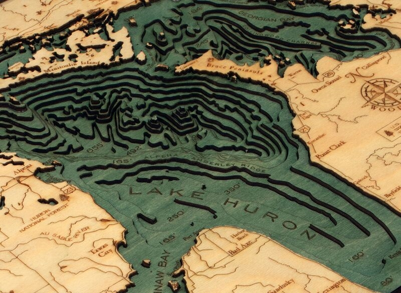Lake Huron Wood Carved Topographic Depth Chart Map