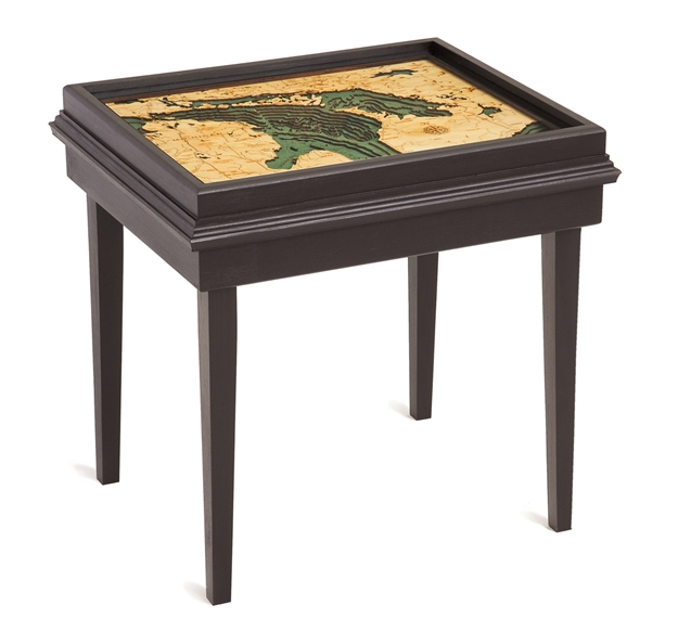 Lake Huron 3D Nautical Woodchart End Table
