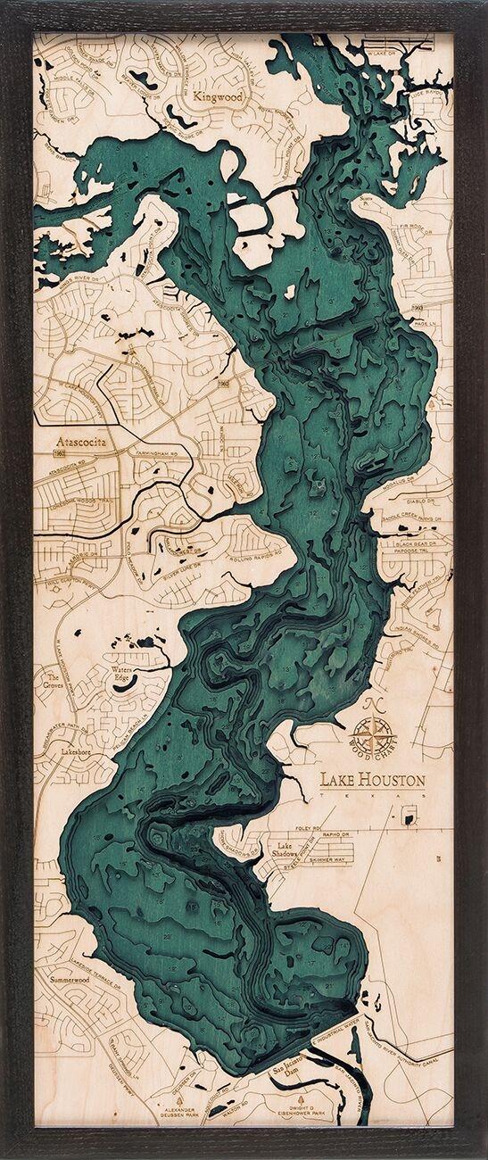 Custom Wood Charts of Lake Houston from Carved Lake Art: Nautical ...
