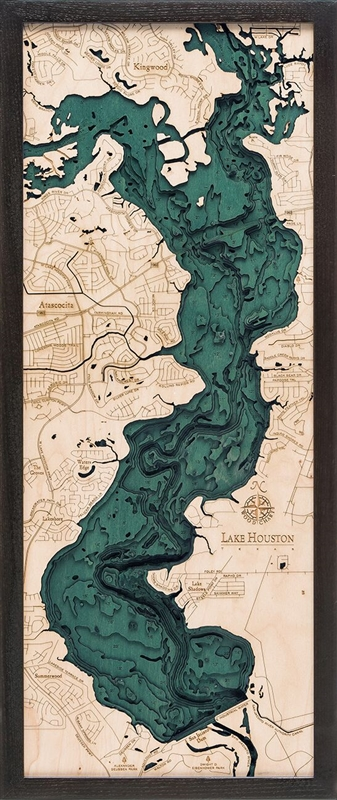 Lake Houston Nautical Topographic Art: Bathymetric Real Wood Decorative Chart