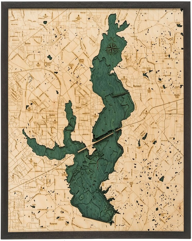 3D Lake Ray Hubbard Nautical Real Wood Map Depth Decorative Chart