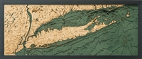 Long Island Sound  Nautical Topographic Art: Bathymetric Real Wood Decorative Chart