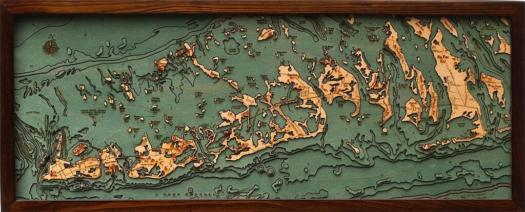 Wood Carved Topographical Map Of The Florida Keys Islands