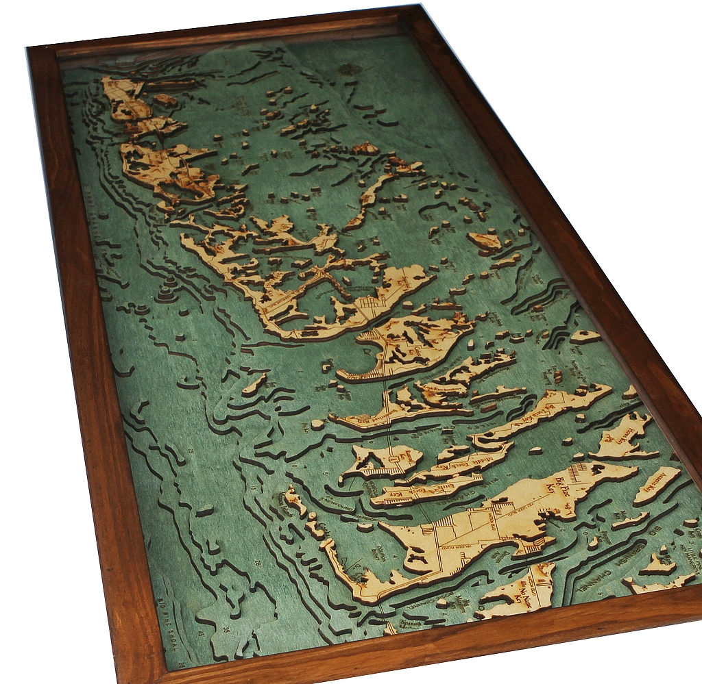 Custom Wood Charts Of The Florida Keys From Carved Lake Art - Florida keys map art