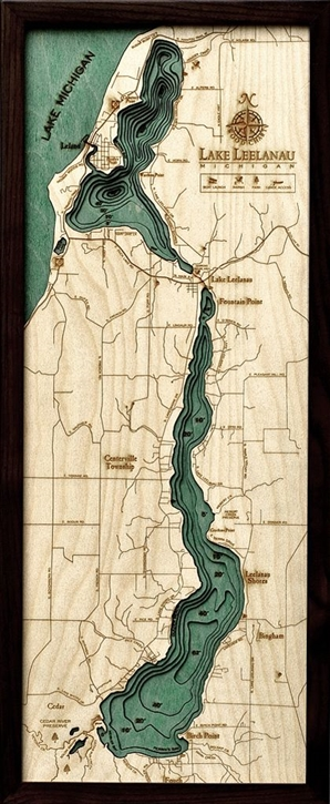 Lake Leelanau Nautical Topographic Art: Bathymetric Real Wood Decorative Chart