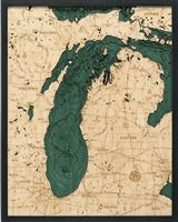 Lake Michigan Nautical Topographic Art: Bathymetric Real Wood Decorative Chart