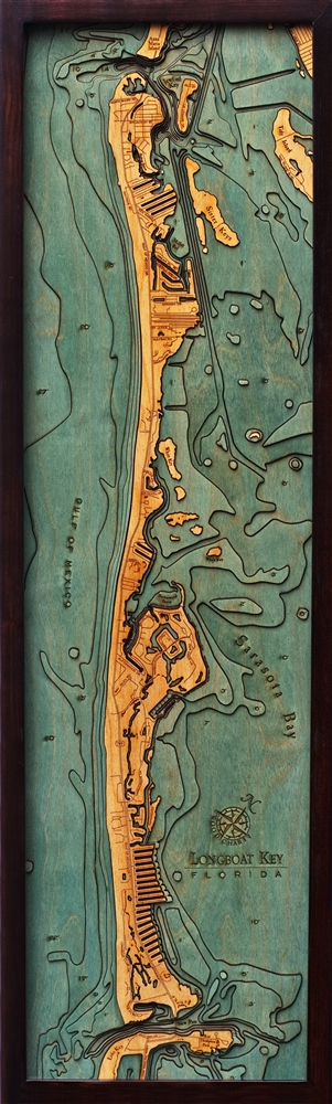 Custom Wood Charts of Longboat Key from Carved Lake Art: Nautical Gifts & Depth Charts