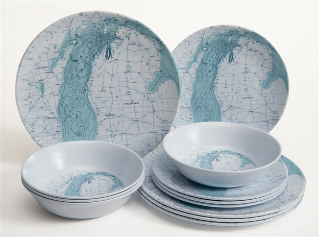 Lake Michigan Melamine 12 Piece Dish Set
