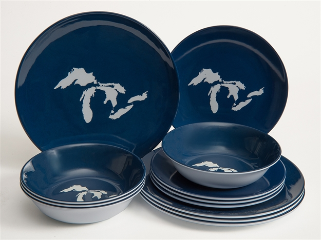 Great Lakes Melamine 12 Piece Dish Set Navy