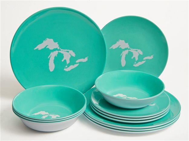 Great Lakes Melamine 12 Piece Dish Set Seafoam
