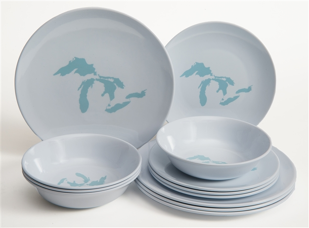 Great Lakes Melamine 12 Piece Dish Set white