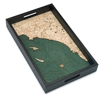 Los Angeles to San Diego Nautical Real Wood Map Decorative Serving Tray