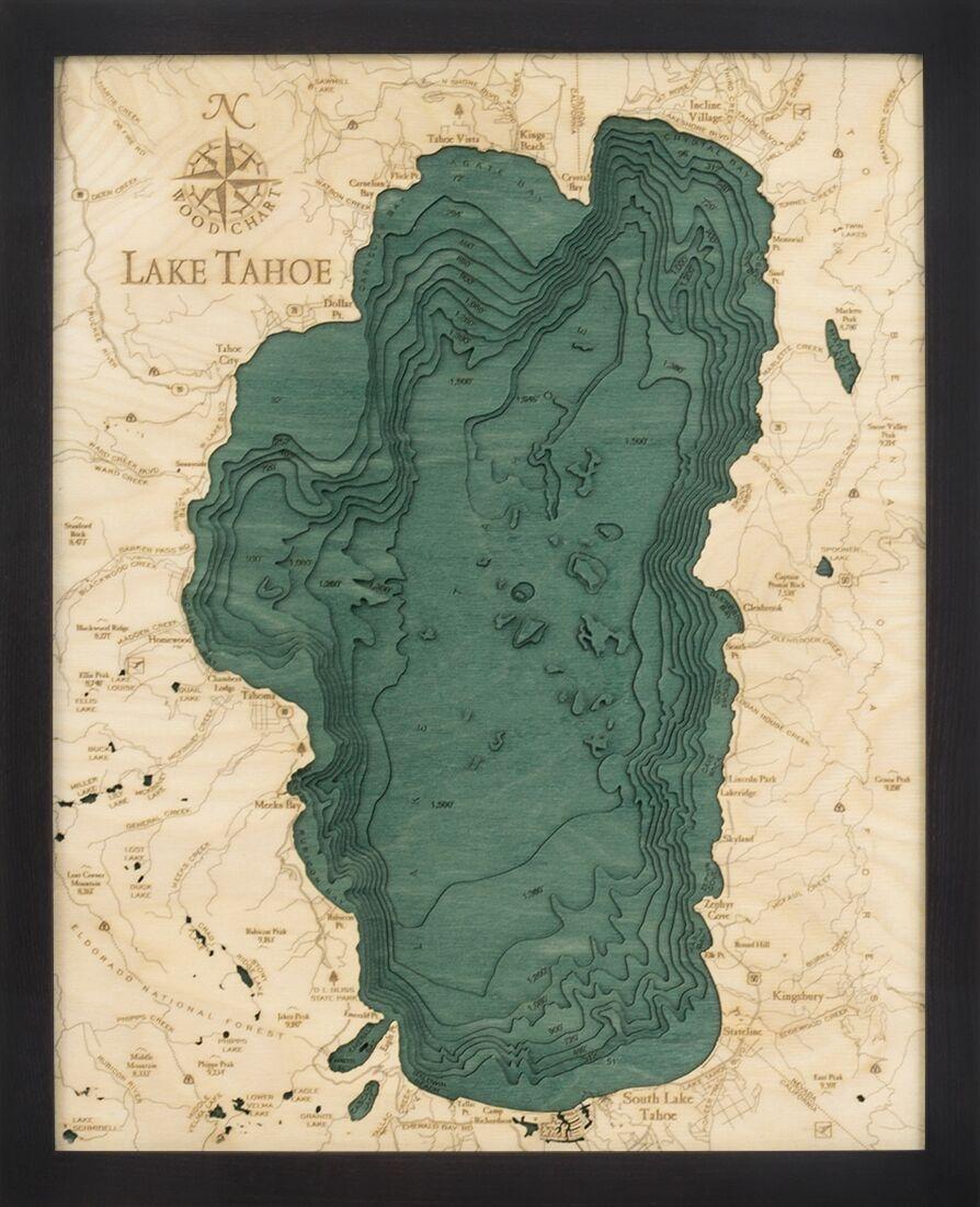 south lake tahoe elevation map Lake Tahoe 3d Map Wood Art Lake Tahoe Topography Art