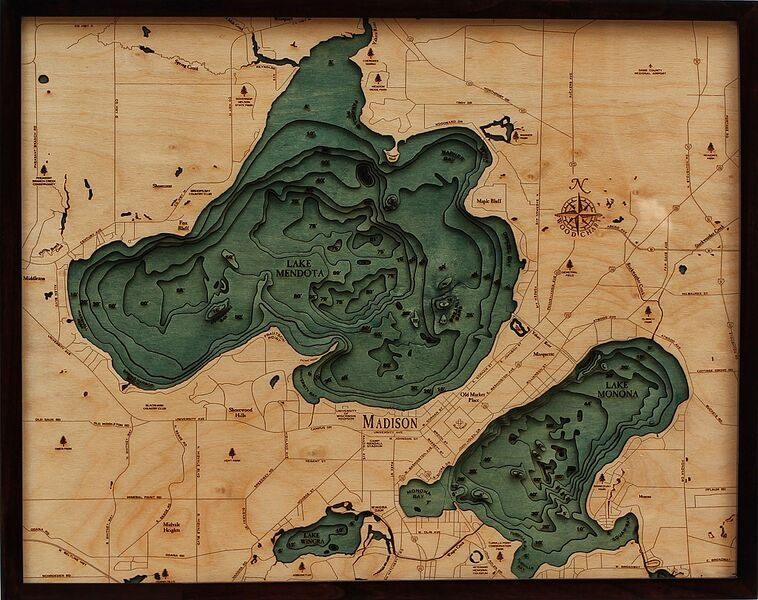 Custom Wood Charts of Lake Mendota and Monona from Carved Lake Art