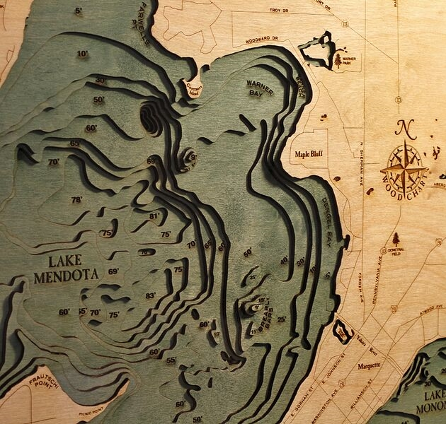 Custom Wood Charts Of Lake Mendota And Monona From Carved Lake Art - Wisconsin topographic lake maps