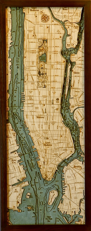 3D Manhattan and Long Island Nautical Real Wood Map Depth Decorative Chart