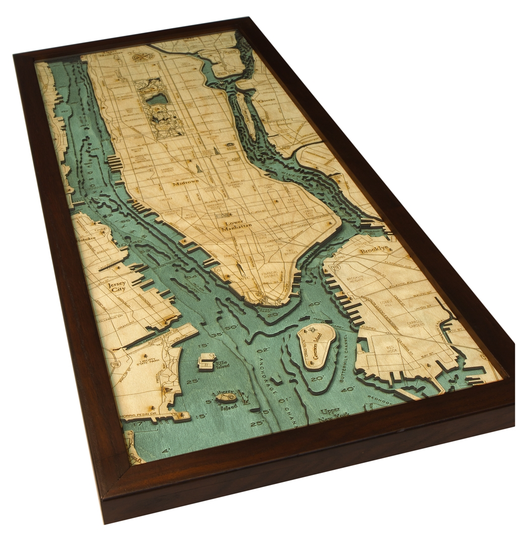 Custom Wood Charts of Manhattan and Long Island from Carved Lake Art ...