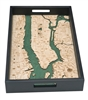 Manhattan Nautical Real Wood Map Decorative Serving Tray