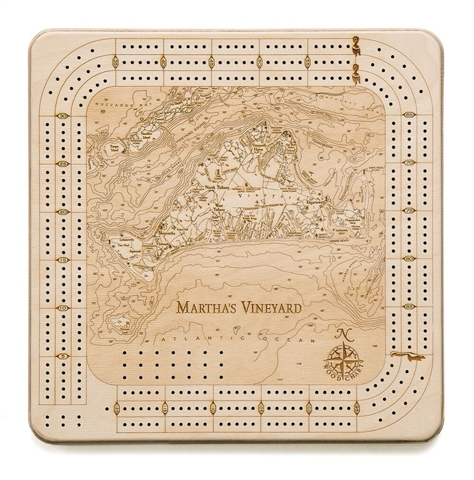 Martha's Vineyard Wood Decorative Cribbage Board