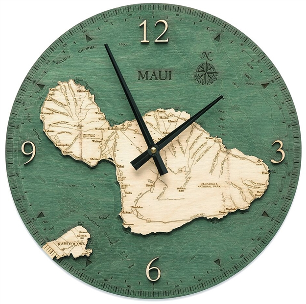 Maui Real Wood Decorative Clock