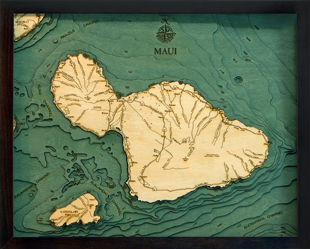 Island of Maui Nautical Topographic Art: Bathymetric Real Wood Decorative Chart