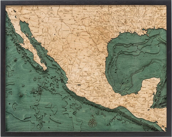 Mexico Nautical Real Wood Map Depth Decorative Chart