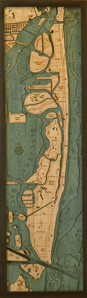 Miami Beach Nautical Topographic Art: Bathymetric Real Wood Decorative Chart