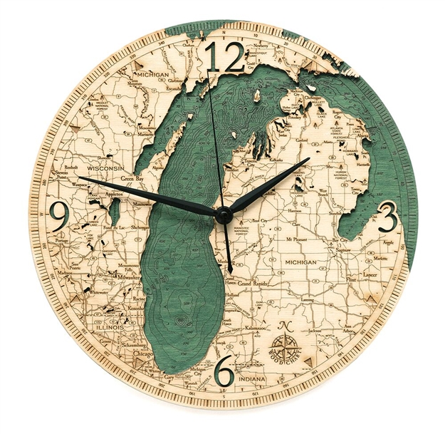 Lake Michigan Real Wood Decorative Clock