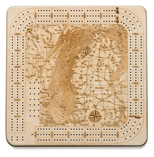 Lake Michigan Real Wood Decorative Cribbage Board