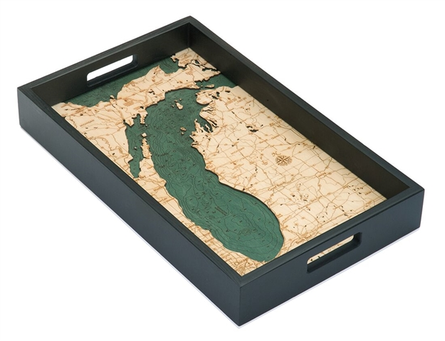 Lake Michigan Nautical Real Wood Map Decorative Serving Tray