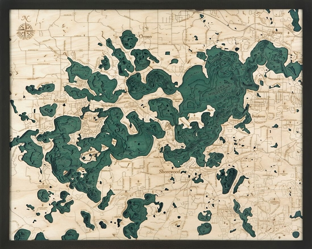Lake Minnetonka Nautical Topographic Art: Bathymetric Real Wood Decorative Chart