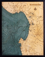 Monterey Bay Nautical Topographic Art: Bathymetric Real Wood Decorative Chart