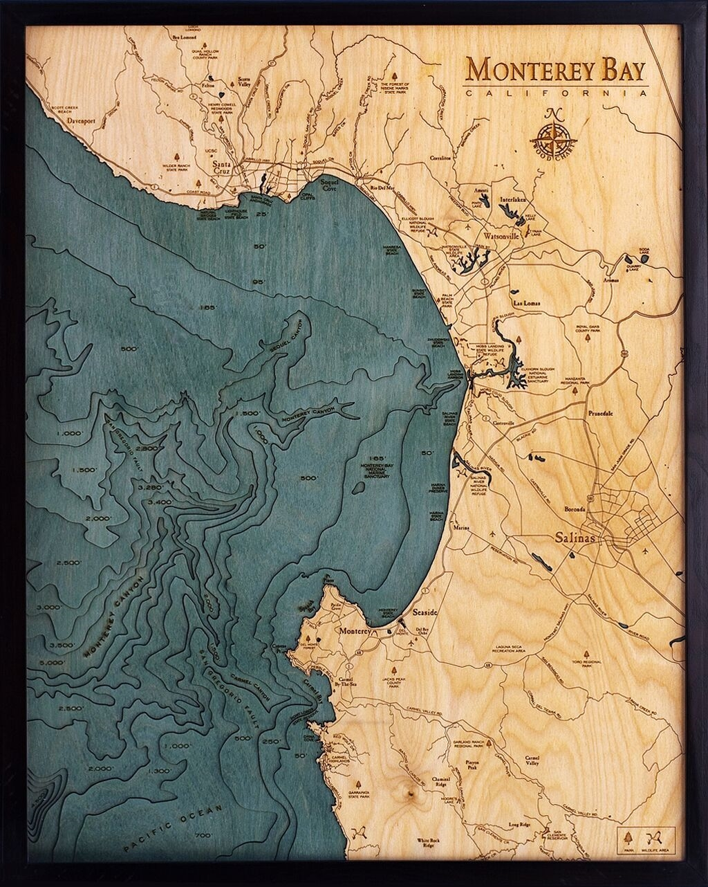 Custom Wood Charts of Monterey Bay from Carved Lake Art Nautical