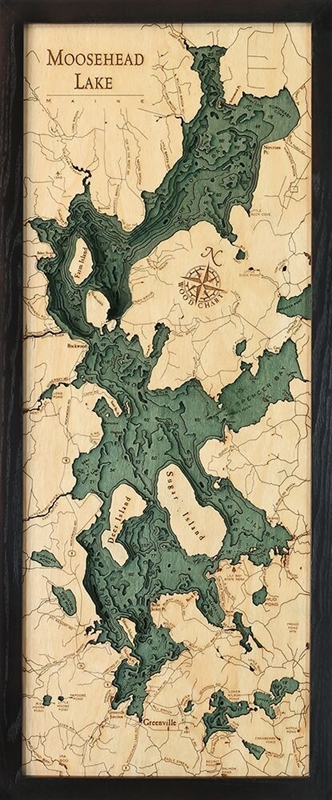 Moosehead Lake Nautical Topographic Art: Bathymetric Real Wood Decorative Chart