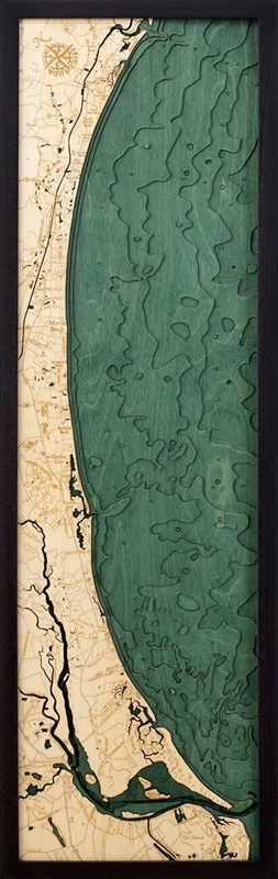 3D Myrtle Beach Nautical Real Wood Map Depth Decorative Chart