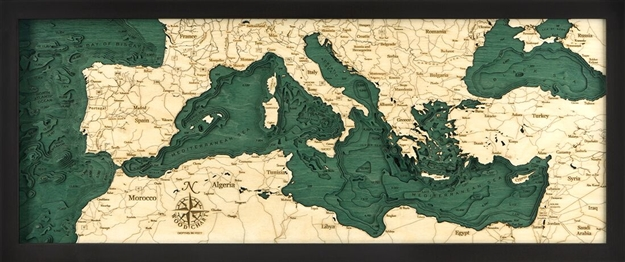 3D Mediterranean Sea Nautical Real Wood Map Depth Decorative Chart